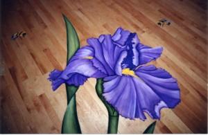 Eleven foot iris hand painted on hardwood floor in aerobic room at Kingsmill Resort, Williamsburg, VA
