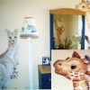 photo of child's mural of giraffe and kangaroo