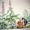 photo of bunny in garden mural