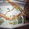 photo of birds, birdhouse, tree mural