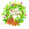 photo of Christmas card with holly wreath