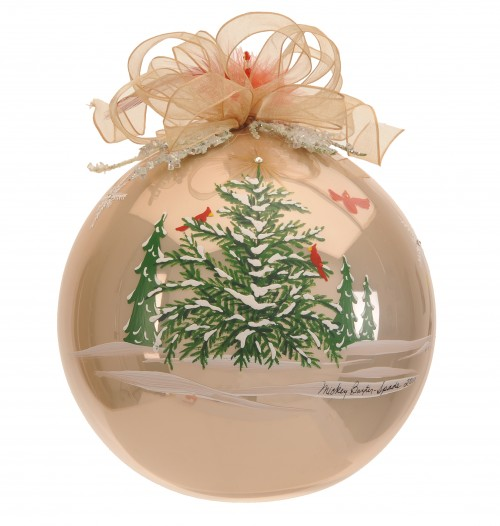 photo of hand painted ornament with snow covered trees