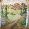 photo of mural with aspen trees and mountain scenery.