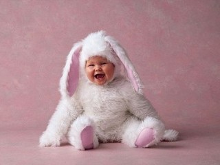 Photo of photo by Anne Geddes of baby dredded as bunny