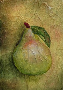 Photo of painting of a green pear.