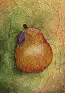 Photo of red pear painting.